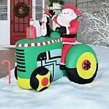 Santa on Tractor Christmas Decoration Inflatable byThe Holiday Aisle