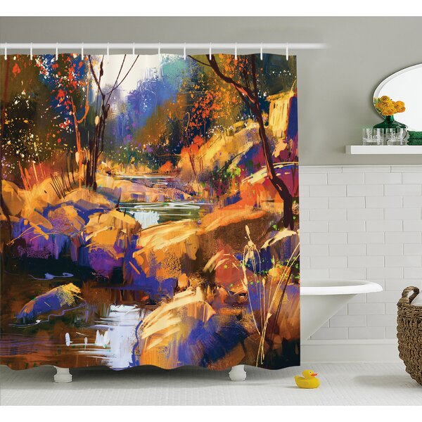 Dreamy Environment with Water in Bedrocks Artful Spring Scene Shower Curtain Set by East Urban Home