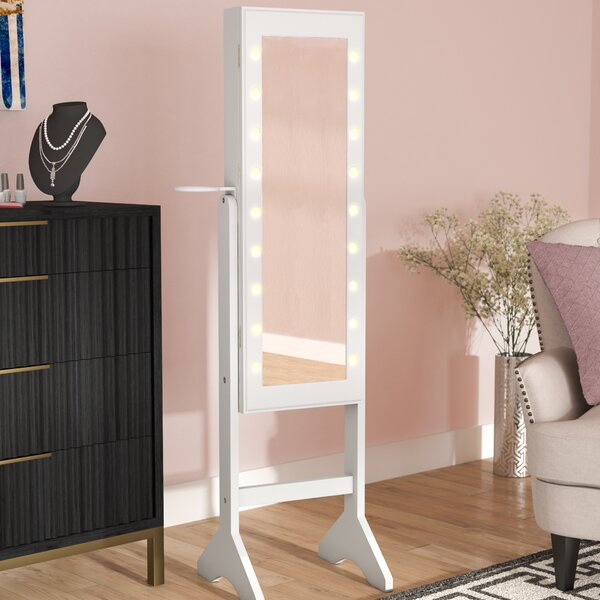 Walsall Makeup Free Standing Jewelry Armoire with Mirror by House of Hampton