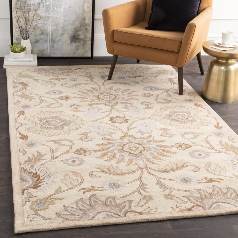 Arden Floral Handmade Tufted Wool Cream Camel Area Rug Reviews Birch Lane