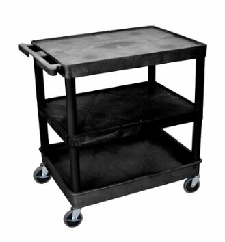 Large Flat Top/Middle and Tub Bottom Shelf Cart by Luxor