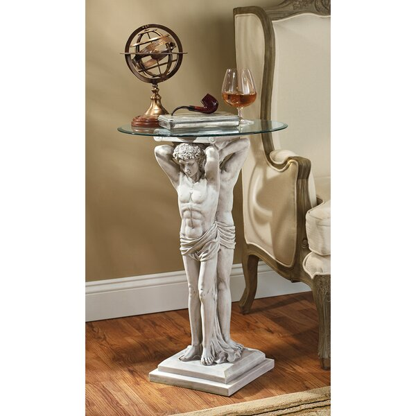 Hermitage Atlantes Glass - Topped Pedestal End Table by Design Toscano