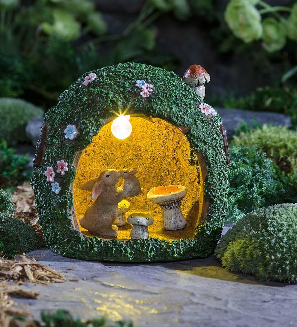Plow & Hearth Solar Rabbit Warren Fairy Garden   Wayfair