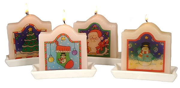 Club Tree Santa Claus Stocking and Snowman Christmas Candle by Northlight Seasonal