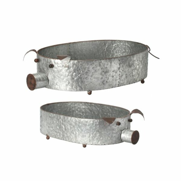 Mccarver 2-Piece Metal Pig Planter Set by Gracie Oaks