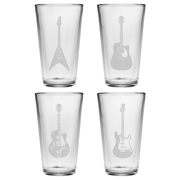 Adalwin Guitar Pint Glass (Set of 4) by Trent Austin Design
