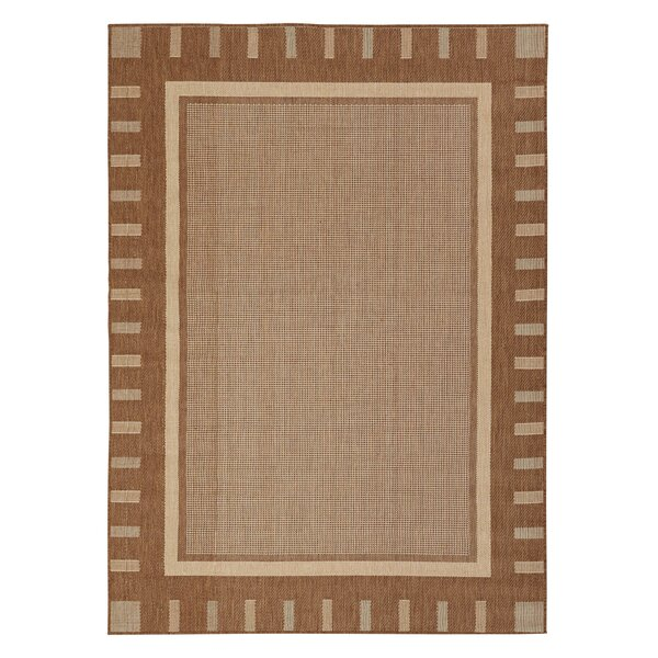 Summer Geometric Bordered Brown Indoor/Outdoor Area Rug by Berrnour Home