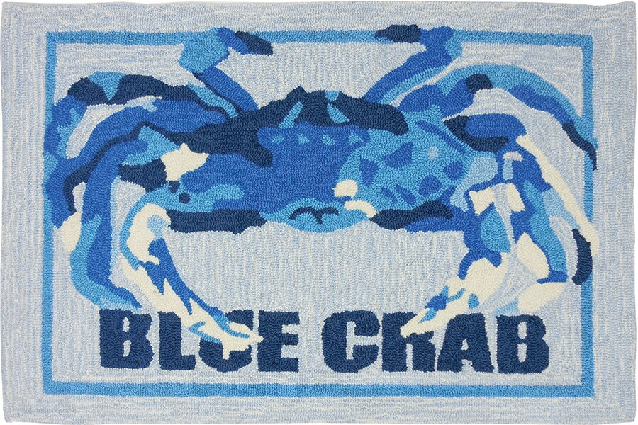 Orlando Crab Shack Light Gray Blue Area Rug