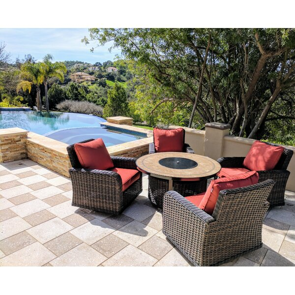 Vlad Propane Gas 5 Piece Rattan Sunbrella Multiple Chairs Seating Group with Cushions by Darby Home Co