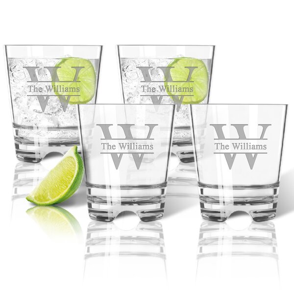 Personalized Tritan Split Letter 12 oz. Old Fashioned Glass (Set of 4) by Carved Solutions