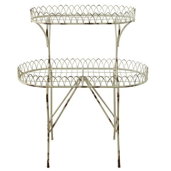 Alijah Distressed 2-Tier Wire Etagere Bookcase by August Grove