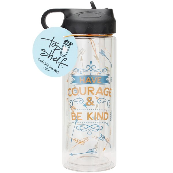 Have Courage & Be Kind Glass 13 oz. Water Bottle by Top Shelf