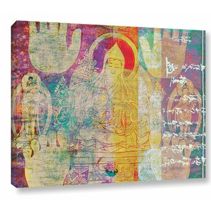 'Hi-Five Buddha' by Elena Ray Graphic Art on Wrapped Canvas by ArtWall