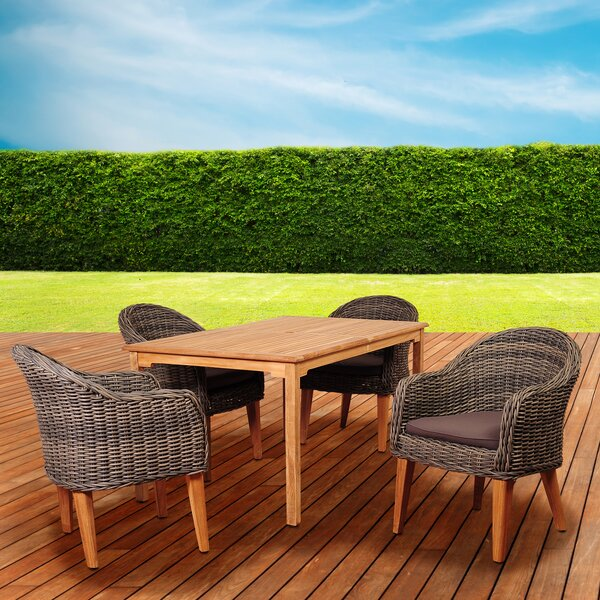Elsmere 5 Piece Teak Dining Set with Cushions by Beachcrest Home