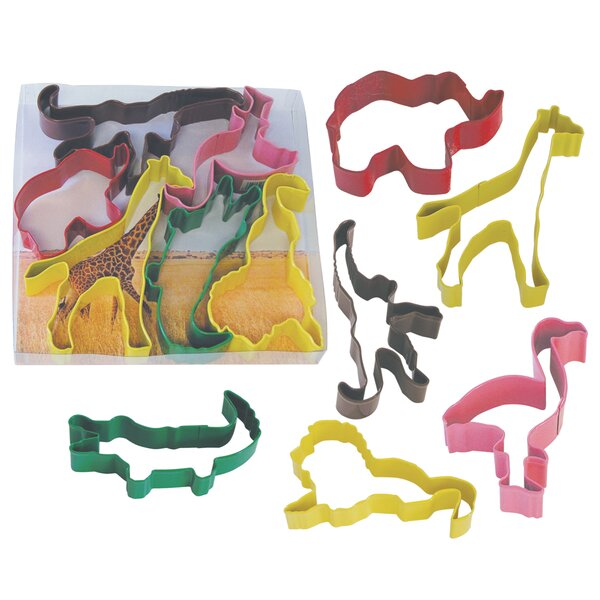 6 Piece Safari Animal Cookie Cutter Set by R & M International Corp.