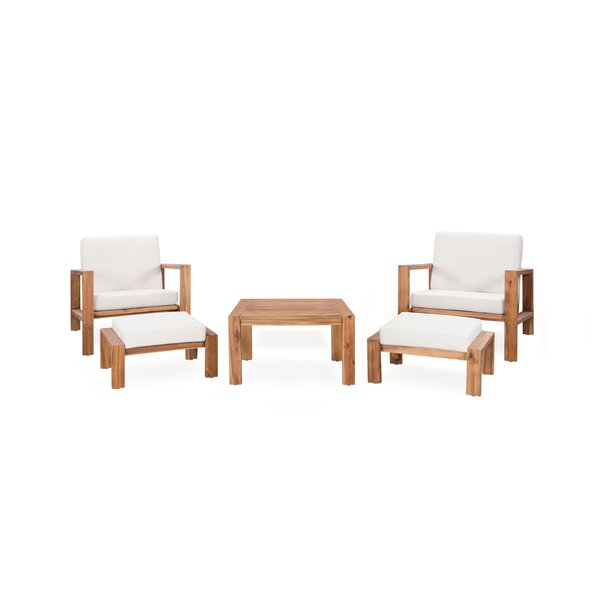 Congdon 5 Piece Multiple Chair Seating Group with Cushions by Rosecliff Heights