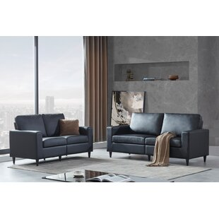 Sofa And Loveseat Sets Morden Style PU Leather Couch Furniture Upholstered 3 Seat Sofa Couch And Loveseat For Home Or Office by Latitude Run®