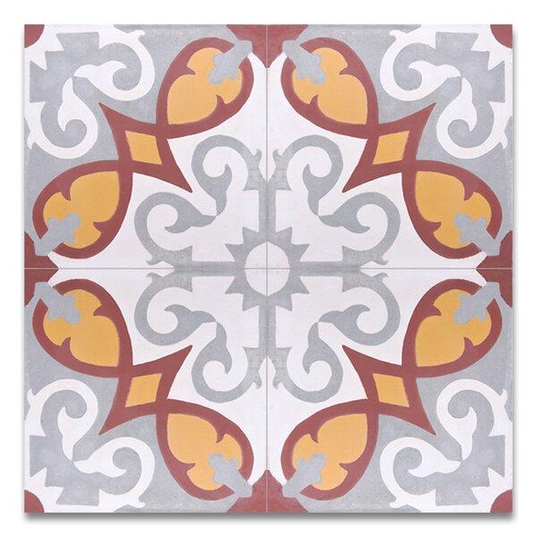 Agadir 8 X 8 Handmade Cement Tile in Multicolor by Moroccan Mosaic