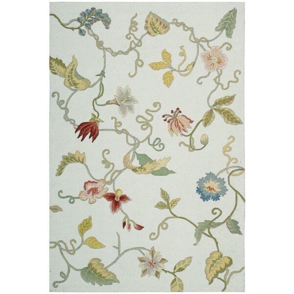 York Hand-Hooked Fern Area Rug by Charlton Home