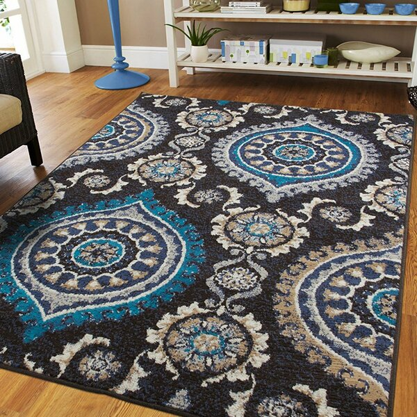 Aaronsburg Black Indoor/Outdoor Area Rug by Bungalow Rose