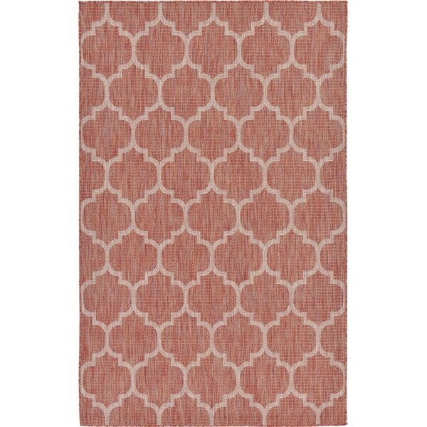 Tandridge Rust Outdoor Red Area Rug by Charlton Home