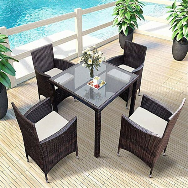 Kurt 5 Pieces Rattan Multiple Chairs Seating Group with Cushions by Bayou Breeze Bayou Breeze