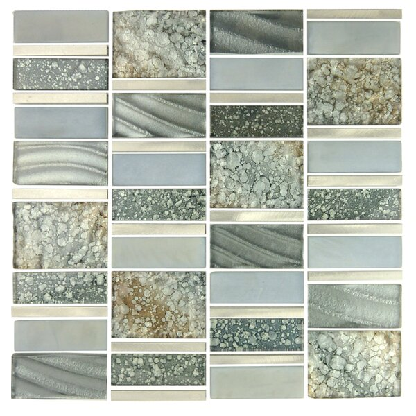 Imperial Random Sized Glass and Aluminum Mosaic Tile in Silver Sea by Abolos