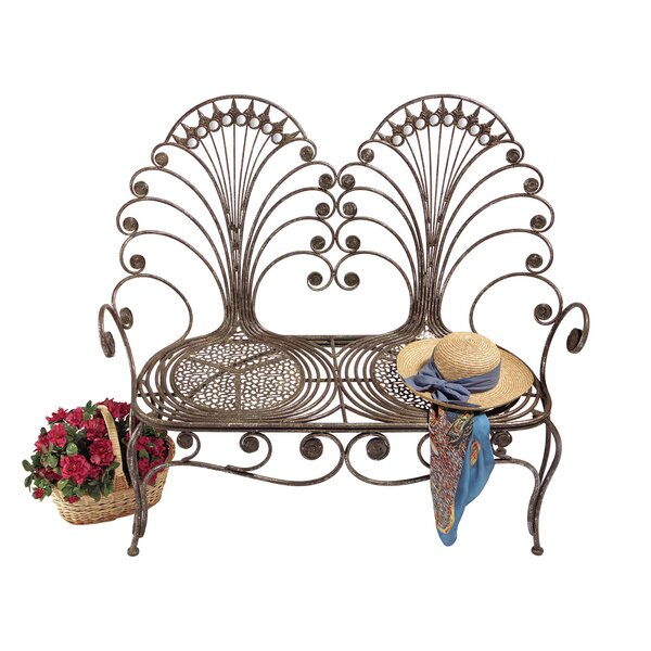 Grand Peacock Metal Garden Loveseat Bench by Design Toscano