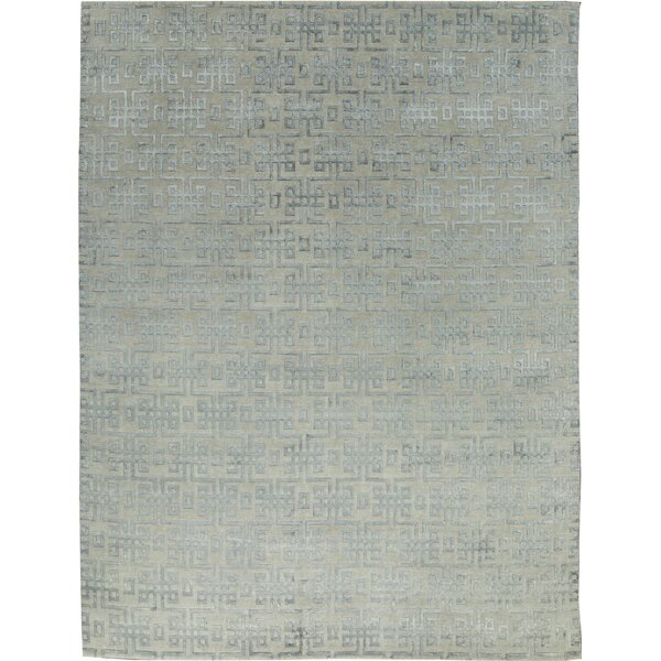 One-of-a-Kind Himalayan Art Maze Hand-Knotted Gray/Light Blue Area Rug by Bokara Rug Co., Inc.
