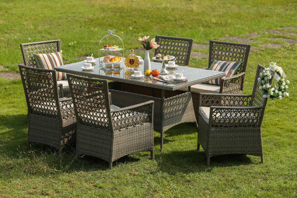 Horvath 7 Piece Dining Set with Cushions