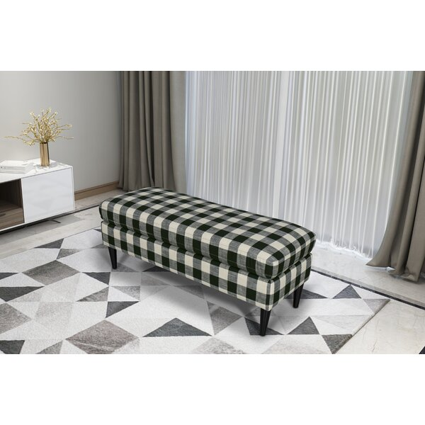 Gracie Oaks Bradford Large Decorative Bench With Pillow Top in  Woven Charcoal Plaid by Gracie Oaks