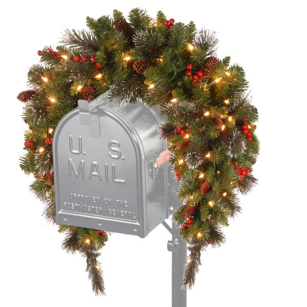 Spruce Pre-Lit Mailbox Cover with 50 Battery-Operated White LED Lights by Three Posts