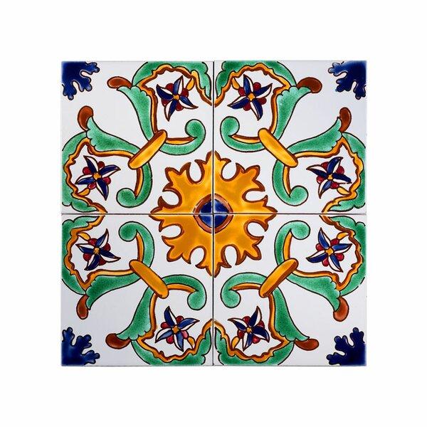 Mediterranean 6 x 6 Ceramic Sicily Decorative Tile in Green/Yellow/Blue by Casablanca Market