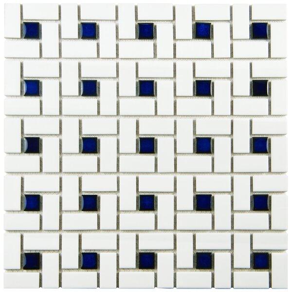 Retro Random Sized Porcelain Mosaic Tile in White/Blue by EliteTile