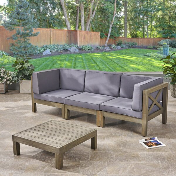 Ellison 4 Piece Sofa Seating Group with Cushions by Highland Dunes