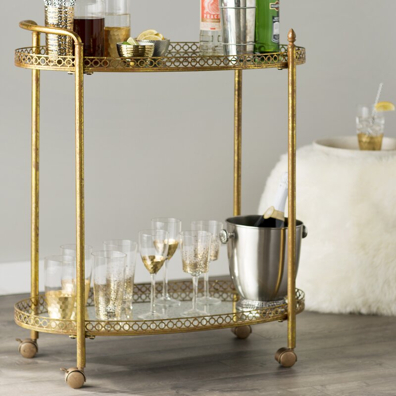 Royse Mirrored Bar Cart