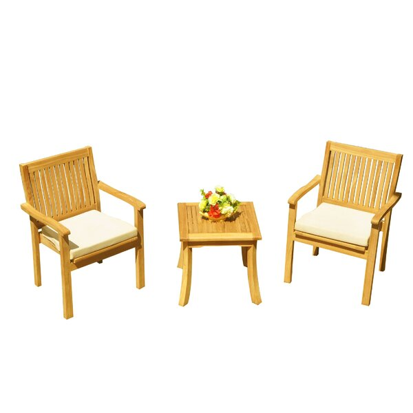 Mateo 3 Piece Teak Bistro Set by Rosecliff Heights