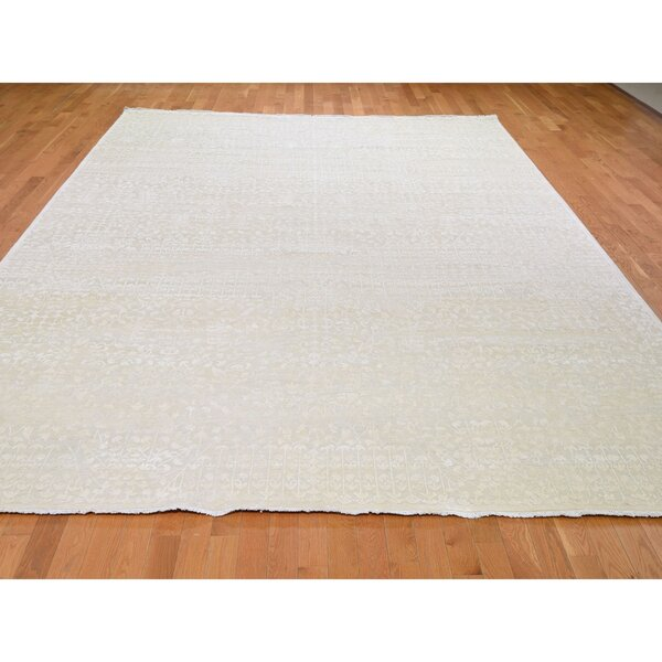 One-of-a-Kind Unyay Hand-Knotted Ivory 9'9 x 14' Area Rug