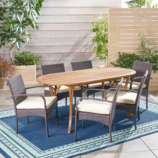Winchell Outdoor 7 Piece Dining Set with Cushions by Bungalow Rose