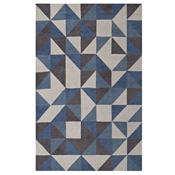 Witherell Geometric Triangle Mosaic Blue/White/Gray Area Rug by Orren Ellis