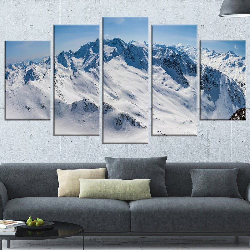 DesignArt \'Snowy Mountains Panoramic View\' 5 Piece Wall Art on ...