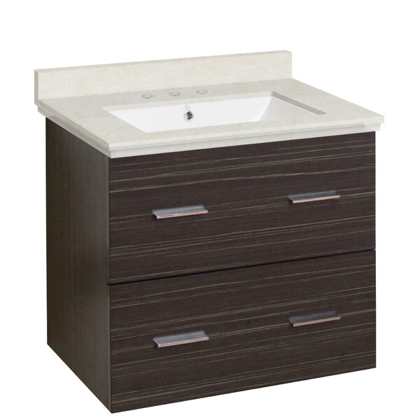 Phoebe Drilling Wall Mount 24 Kiln Dried Ceramic Top Single Bathroom Vanity Set by Orren Ellis