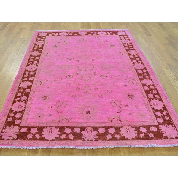 One-of-a-Kind Bem Overdyed Ziegler Mahal Hand-Knotted Pink Wool Area Rug by Isabelline