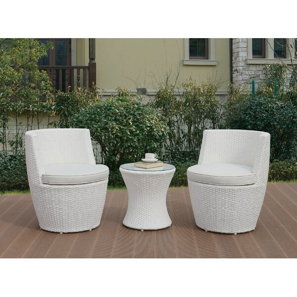 Anthonyson 3 Piece Rattan Conversation Set with Cushions by Bloomsbury Market