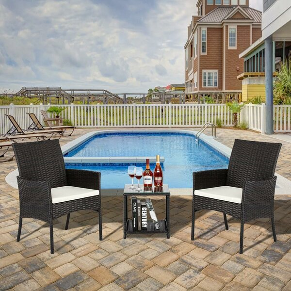 Whitling 3 Piece Rattan Deep Seating Group with Cushions by Ebern Designs