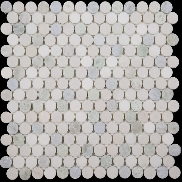 Penny Round Bianco Dolomite Honed 0.75 x 0.75 Marble Mosaic Tile in Blue Celeste/Ming Green by Ephesus Stones