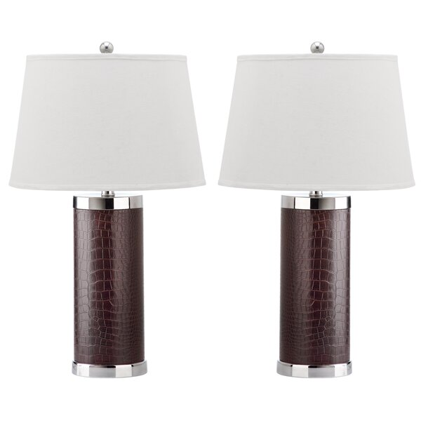 Leather Column 26 Table Lamp (Set of 2) by Safavieh