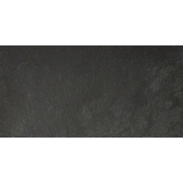 Black Bliss 6 x 12 Slate Field Tile in Black by The Bella Collection