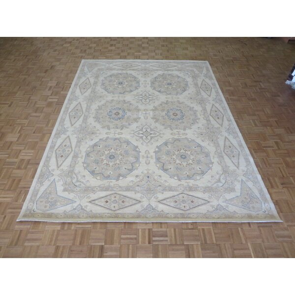 One-of-a-Kind Railsback Khotan Oushak Hand-Knotted Wool Ivory Area Rug by Astoria Grand
