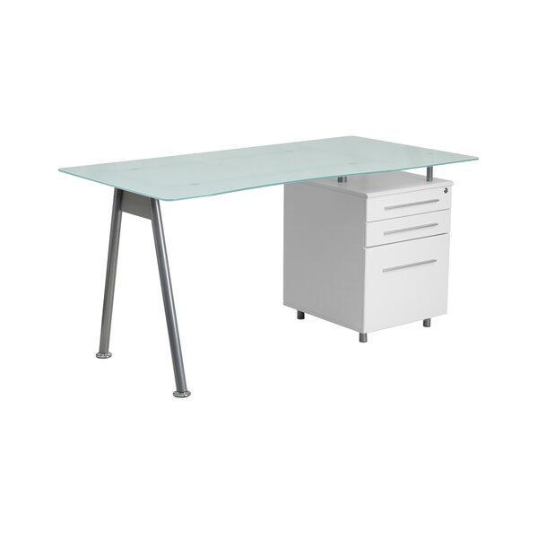 Sieber Writing Desk with Glass Top and 3 Right Drawer Pedestal by Brayden Studio